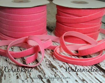 Ultra Soft Velvet Elastic for Baby Headbands - 3/8 Inch Wide - CORAL ROSE or WATERMELON - Your Choice: 5 or 10 yards - Stretch Velvet