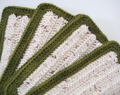 Soft Natural Dish Cloths, Crocheted, Fall Color Fleck and Woodsy Green