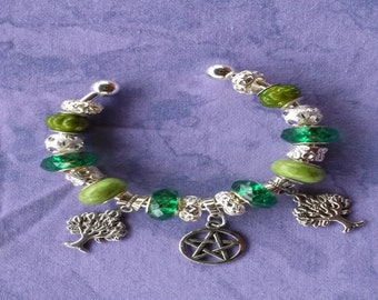 Tree of life, Euro style bracelet, Pagan Wiccan