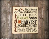 Fall Harvest Wooden Sign ~ Autumn Decor ~ Typography Sign ~ Fall Decor ~ Harvest Sign ~ Pumkins