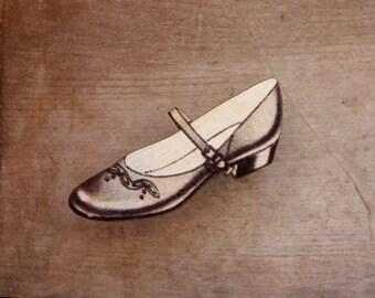 Grey Shoe Brooch, Wooden Shoe Brooch, Mary Jane Shoe, Made in Australia