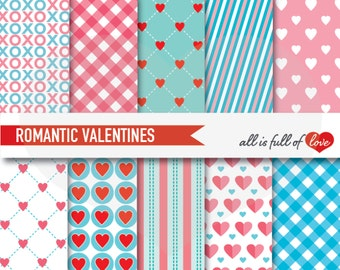 VALENTINES Papers Digital Scrapbooking Patterns Coral Blue Backgrounds Valentines patterns 12/15