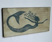 Fantasy Whirly Mermaid Decor Hand Painted Wood Sign - Choose Your Color Mermaid