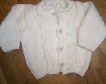 Vintage...hand knit baby sweater....off white....