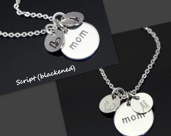 MOM Necklace, Initial Necklace, Personalized Mom Necklace, Mom and Kids, STERLING SILVER