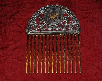 Like Clockwork - Steampunk Hair Comb - Watch Movement and Silver Filigree