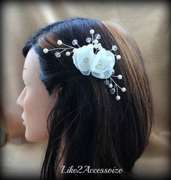 White Ivory Champagne Pearl, Bridal Hair Pin, Wedding Hair Accessories, Swarovski Pearl, Wedding Hair Flower Pearl Clip Floral Vine Hair Pin