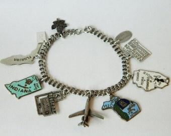Enamel State Charm Bracelet