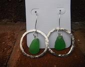 sterling silver sea glass earrings
