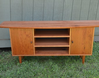 Solid Cherry Media Cabinet.Tv Stand /Credenza/ Sideboard/Hutch.50's Design Modern Decor Mad Men Vintage Tapered Legs Danish Modern
