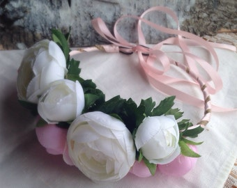 Floral Wreath/Crown/Flower girl Wedding Hair Piece/Floral Crown Rose Headband, Photo Prop for Girls