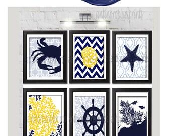 Digital Print Beach House Prints Navy Blue Yellow White Wall Art Vintage / Modern Inspired -Set of (6) -5x7 Prints -  (UNFRAMED)