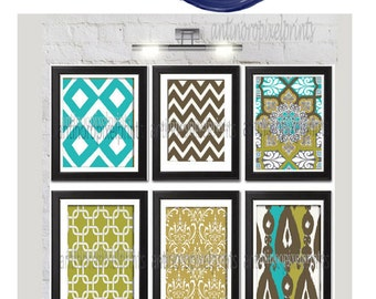 Turquoise Brown Green  Home Decor Vintage / Modern inspired Wall Art Prints -Set of (6) - 8x10 Prints  -  (UNFRAMED)