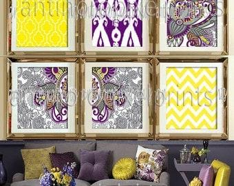 Ikat Digital illustration Wall Art - Set of 6 - 8x10 Prints - Featured in Purple Yellow (UNFRAMED)