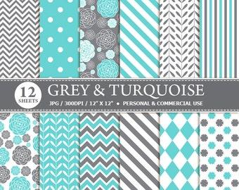 70% OFF SALE 12 Grey & Turquoise Digital Scrapbook Paper, digital paper patterns for card making, invitations, scrapbooking