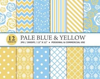 70% OFF SALE 12 Pale Blue & Yellow Digital Scrapbook Paper, digital paper patterns for card making, invitations, scrapbooking