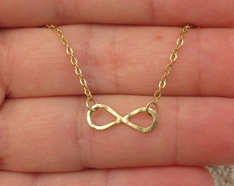 14k Solid gold Infinity pendant necklace, Hammered Infinity necklace, 14k gold necklace-Lowest price on Etsy