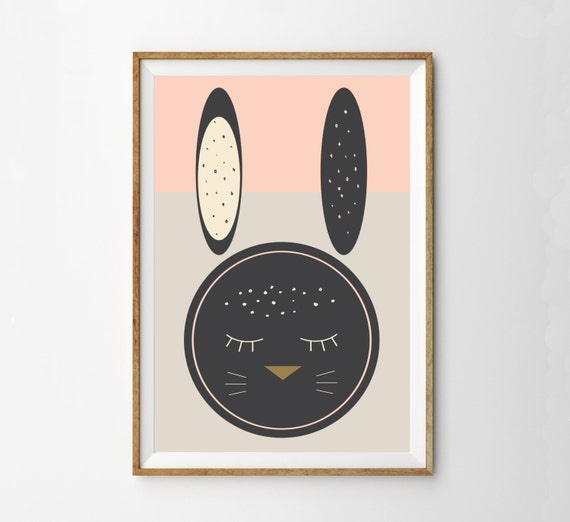 Midcentury Easter Print - Mid Century Modern Bunny Rabbit Wall Art Print - Nursery Art - Woodland Boho Spring Decor - Kids Room Art Print