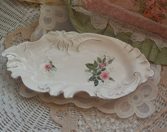 Vintage Dish, Ornate Pretty Pink and White Flowered  Candy Dish, Vintage Kitchen, Vintage Dishes, Vintage Bowls, Nut Bowl, Cottage Chick  :)