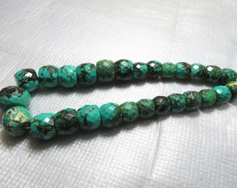 Turquoise Wholesale Price 610 CRT  27 Piece Lot Old Looking Smooth Faceted  Good Quality Size 11X13 mm To 15X21 mm  Approx