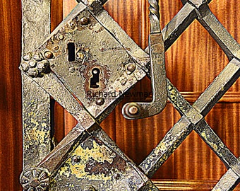 Old metal gate, historic architecture, Spain, 11 x 14 photograph