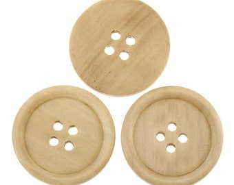 10 Large Natural Wooden Button - 3cm - 30mm - 1 1/8 inch -  4 hole - Wood Buttons (30088)