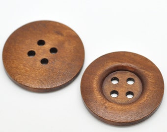 12 Large Brown Wooden Button - 35mm - 1 3/8 inch -  4 hole - Wood Buttons (19495)