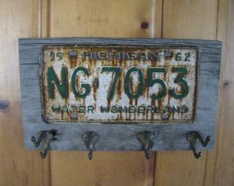 Vintage coat rack - made to order - coat hanger - vintage license plates- real barn wood - vintage brass hooks-