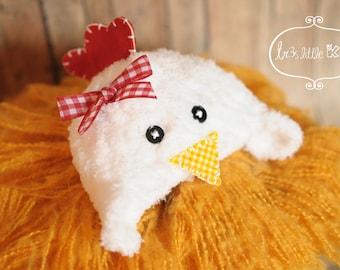 Chicken Hat,Rooster hat, hen hat baby, Newborn Hat,newborn baby boy, newborn baby girl -White,yellow,Red -Spring prop - Made to Order