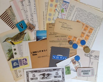 30 Pc. Ephemera Paper Pack for Altered ARt, Mixed Media, collage, Smash Books, Journal