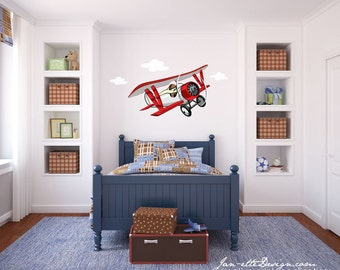 Wall Decal, Airplane Wall Decal, Aviator Theme Stickers, Airplane Wall Art