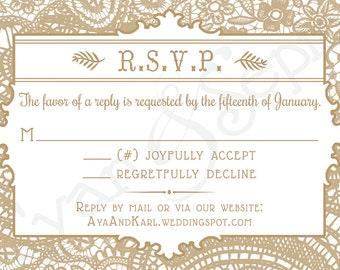 Vintage Lace - 3.5x5 Printable Wedding Invitation RSVP - Cottage Victorian Rustic Elegant - Gold White Pink Blush Gray Grey