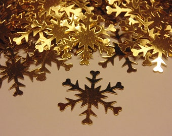 25 gold snowflake confetti / sequins  , 25 mm (7)