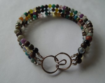 Vintage Glass Bead Bracelet with Sterling Silver Clasp.  Multi Strands, Colorful Stones and Glass.