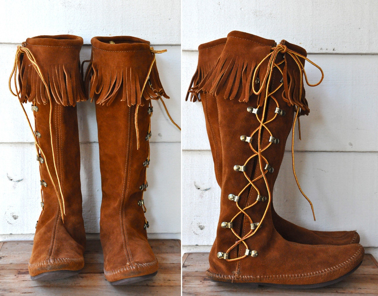 minnetonka boots knee high lace up brown by italavintage