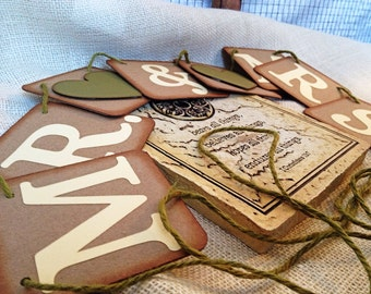 MR. and MRS. Garland / Banner  - Wedding pennant - 4 x 4 Brown Chipboard - Moss Green / Ivory / Brown / Olive - Vintage/ Rustic Garland