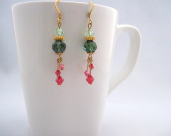 Dangly Christmas earrings, red and green crystal, Christmas jewelry, drop earrings