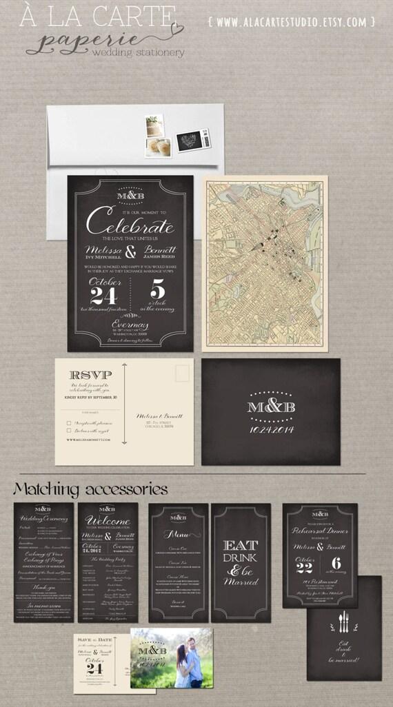 Art Deco Chalkboard Inspired Wedding Invitation RSVP Card - Elegant Vintage Wedding Suite with vintage map