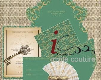 Die Cut Custom Luxury Invitations - Custom Lasercut invitations - Custom Diecut Metallic Invitations by InviteCouture