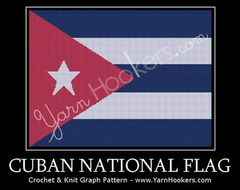 Cuban National Flag - Afghan Crochet Graph Pattern Chart by Yarn Hookers