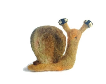Primitive Snail Sculpture, Needle Felted Folk Plush (Clive)