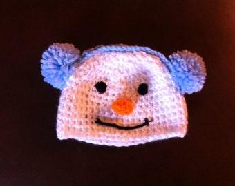 Crochet snowman hat with earmuffs