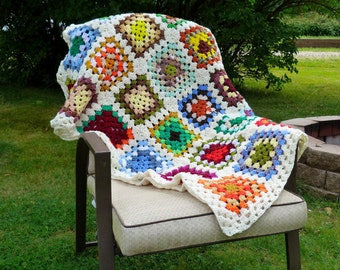 Granny Square Afghan, Crochet Blanket, Crochet Afghan, Crocheted Throw, Sofa Throw, Crochet Granny Square Afghan, Housewarming Gift,