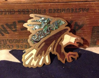 Vintage 1970 Eagle Belt Buckle with inlays