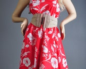 Gorgeous 70's Red Dress with White Poppy Flowers