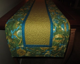 Christmas green, gold and aqua festive table runner