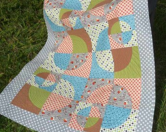 Quarter Rounds Circles Dots Gender Neutral Small Throw Knee Warmer or Juvenile Quilt