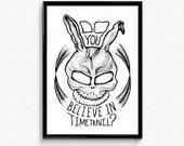 Original Hand Drawn Donnie Darko - Frank The Bunny Art Print