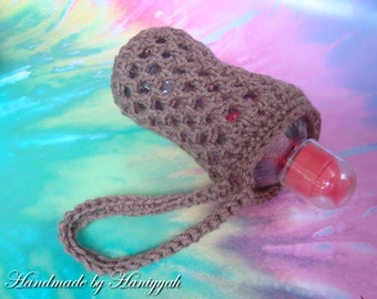Bottle Cozy Wristlett - Water Bottle Holder Cozy Carrier - Handmade Crochet - in Latte Brown