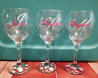 Custom Monogram Vinyl Wine Glass Decals Bridal Party - Wine glass custom vinyl stickers